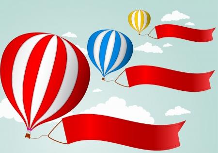 Vektor Illustration av Luftballong i himlen med röd banner för din annonsering