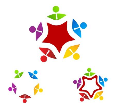 Vector Illustration Of Logo Group Business on star  Ilustração