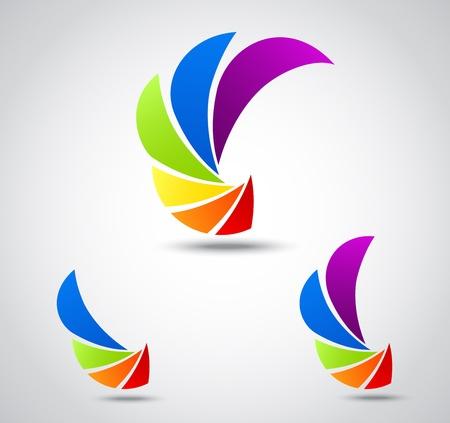Vektor Illustration av sätta logo affärer färgrik slutare