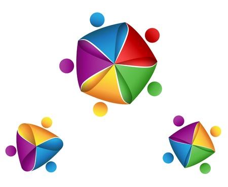 Vektor Illustration av logotyp Grupp affärssymbol facklig koncept Illustration