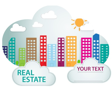 condo: Vector Illustration Of Banner with real estate in cloud  Illustration