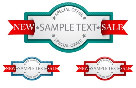 Vector Illustration Of Labels with ribbon  commercial sign