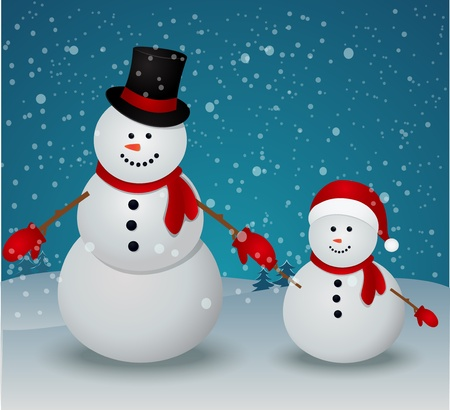 snowman wood: Vector Illustration Of snowman family in Christmas winter scene with sign  Illustration