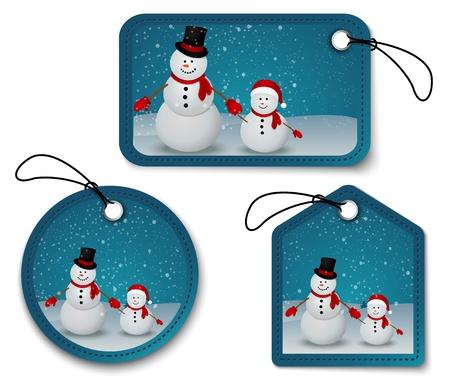 Vector Illustration Of snowman family in Christmas winter scene with sign  Ilustração