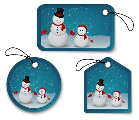 winter scene: Vector Illustration Of snowman family in Christmas winter scene with sign  Illustration