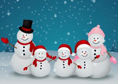 Illustrazione Vettoriale Di famiglia pupazzo di neve in inverno scena di Natale con segno Archivio Fotografico - 20782709
