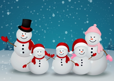Vector Illustration Of snowman family in Christmas winter scene with sign  Ilustração