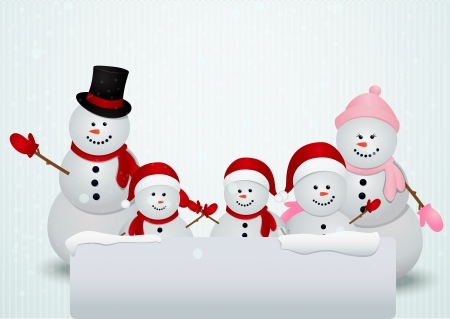 Vector Illustration Of snowman family in Christmas winter scene with sign  Ilustracja