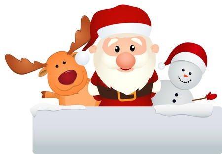 Vector Illustration Of santa claus reindeer and snowman Vector