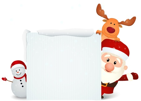 Vector Illustration Of santa claus reindeer and snowman Illustration