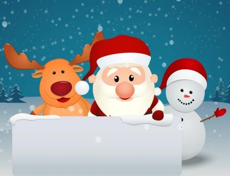 Vector Illustration Of santa claus reindeer and snowman Ilustração