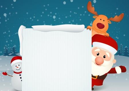 Vector Illustration Of santa claus reindeer and snowman Illustration