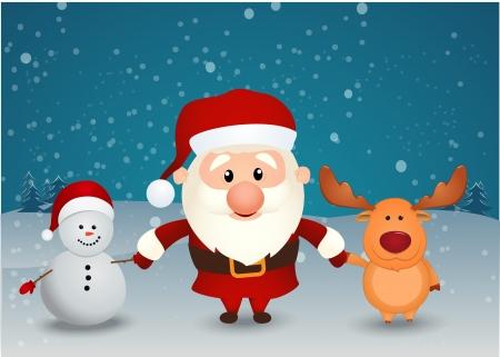 Vektor Illustration av Santa Claus renar och snögubbe