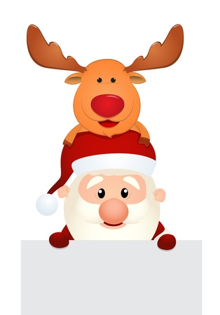 Vector Illustration Of santa claus reindeer and snowman holding hands