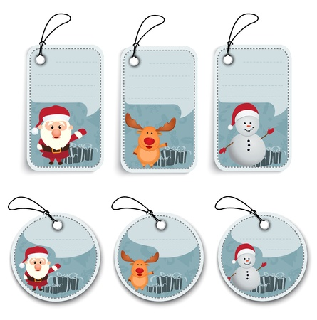 Snowman: Vector Illustration Of Christmas Label  Illustration