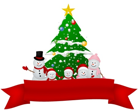 Vector Illustration of Merry Christmas Snowman family with red ribbon  Ilustração