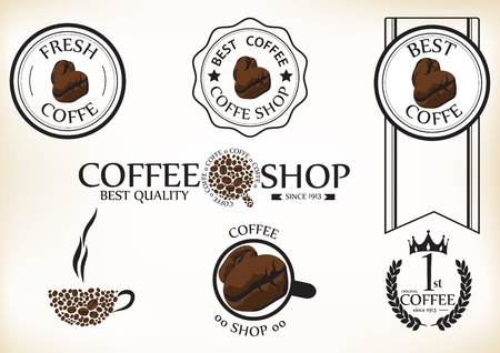 roaster: Vector Illustration of Set of vintage retro coffee shop badges and labels