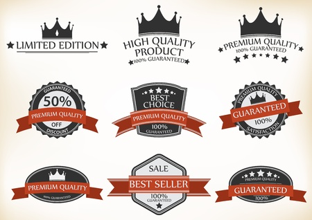 Vector Illustration of Satisfaction Guarantee Label and Vintage Premium Quality set  Vector