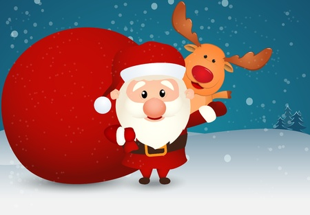 Vector Illustration of Santa Claus and bag with reindeer on winter scene  Illustration