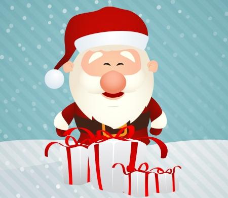 Vector Illustration of Cute Santa Claus  retro christmas card design Illustration