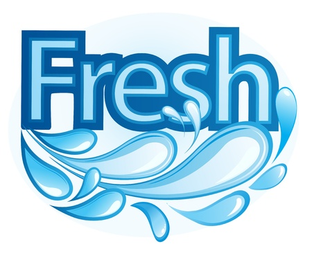 monochromatic: Vector Illustration of Fresh and Water Label vector
