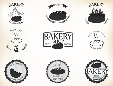 Vector Illustration of Bakery labels and badges with retro vintage style design Vector