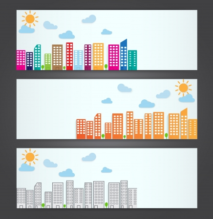 set of city banners on black background Stock Vector - 21812751