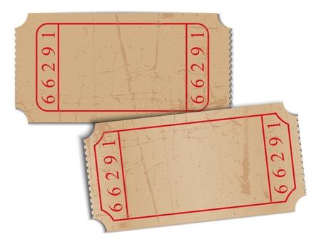 movie ticket: Vector vintage blank paper tickets