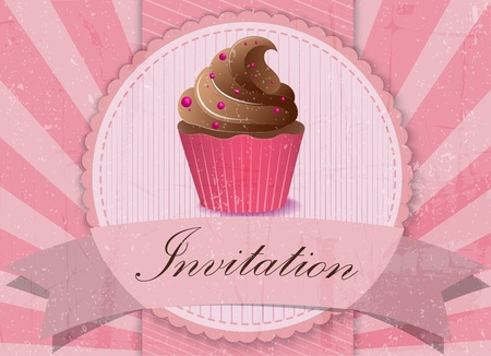 Vector Illustration of vintage cupcake background Vector