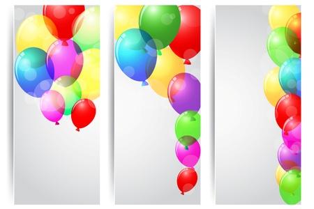 Ilustración vectorial celebración de cumpleaños pancarta con globos de colores