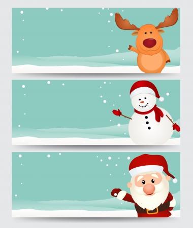 Vector Illustration Uppsättning av jul banner med santa, ren och snögubbe