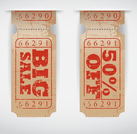 Vector Illustration  Vintage Sales Ticket  Vector