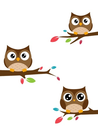 a bough: Vector Illustration  owls Family sat on a tree branch
