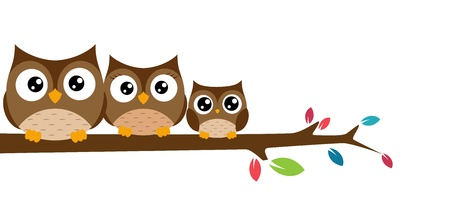 Vector Illustration  owls Family sat on a tree branch