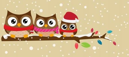 Ilustración vectorial del búho en la rama bandera de la Navidad Ilustración de vector