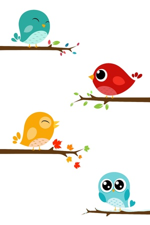 Vector Illustration of Birds sitting on branches  Vector