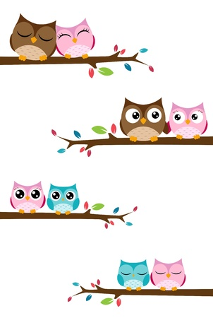 Vector Illustration Of couples of owls sitting on branches