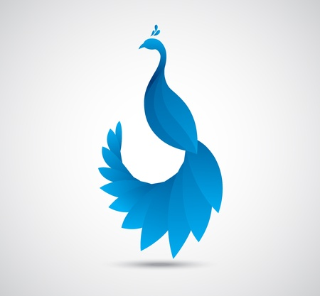 vector illustration of abstract peacock leaf icon  Illustration