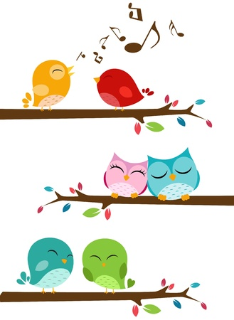 Vector Illustration of Birds singing on the branch