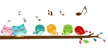 aves: Ilustra��o de p�ssaros cantando no galho Ilustra��o