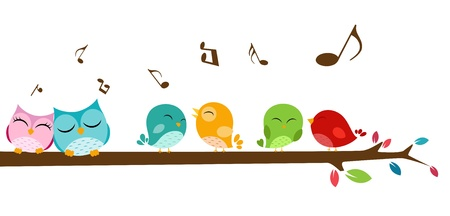 Vector Illustration of Birds singing on the branch 矢量图像