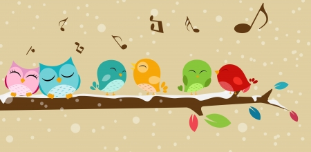 Vector Illustration of Birds singing on the branch Vector
