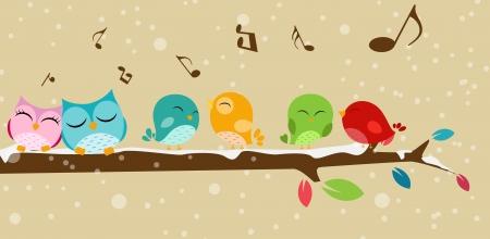 Vektor Illustration av fåglar som sjunger på grenen Illustration