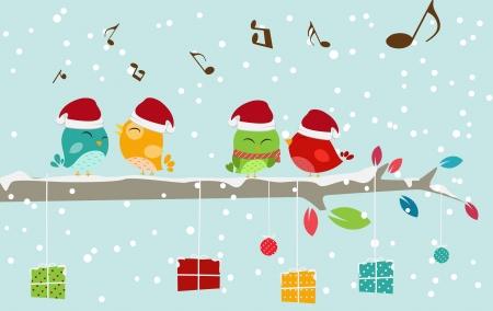 Vektor Illustration av Julkort med fågel-och presentförpackning