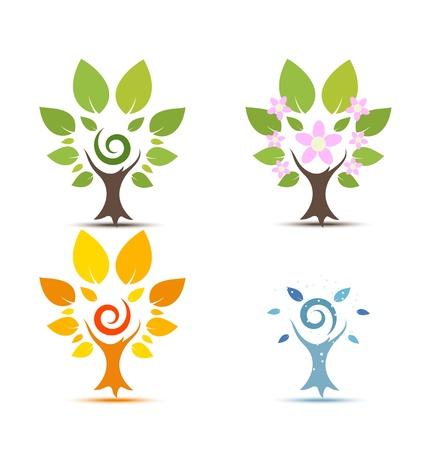 arboles de caricatura: Ilustraci�n del vector de �rboles en cuatro estaciones - primavera, verano, oto�o, invierno icono