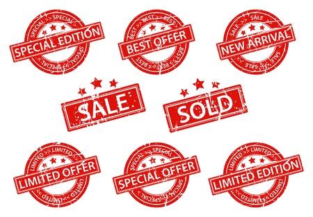 Vector Illustration of Set of Rubber Stamps sale