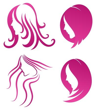 Modelejon symbol för kvinnlig skönhet på lila