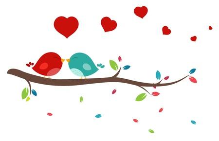 romanticist: Vector Illustration of Beautiful birds in love  Illustration