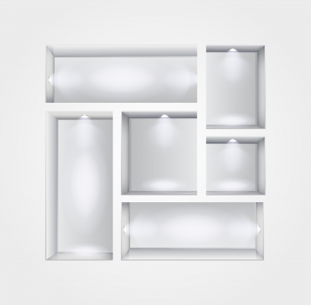 Vector Illustration of Gallery Interior with shelves and spotlight