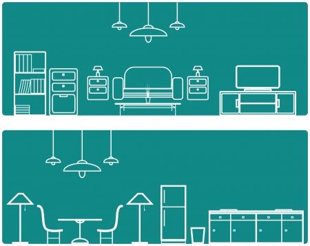 Interior Banner set  with furniture illustration